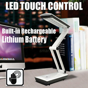 LED Foldable Desk Table Lamp Rechargeable Light Reading Touch Control White NEW
