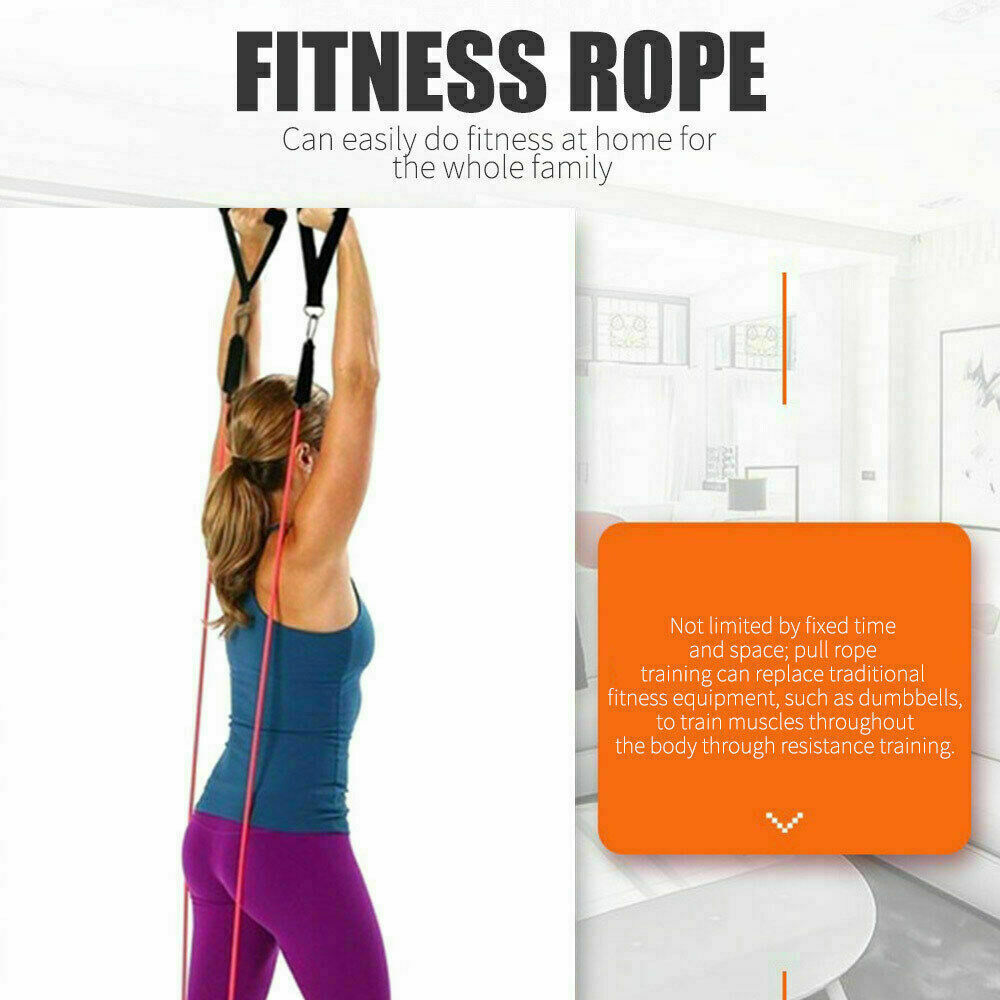 Resistance Bands 11 PCS Set Yoga Pilates Abs Exercise Fitness Tube Workout Bands 6