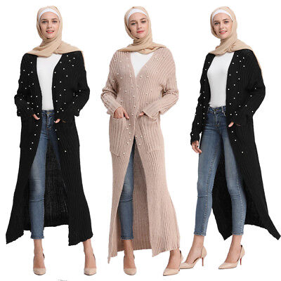 Muslim Open Cardigan Women Warm Outerwear Beading Jacket Maxi Abaya  Coat