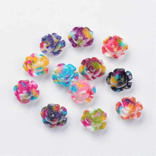 8 Tie Dye Rose Cabochons Resin Flatbacks Flower Flat Backs Floral Findings 13mm