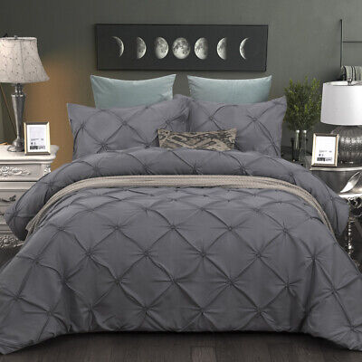 Pinch Pleat Pintuck Duvet Cover/Quilt Cover King Queen Bedding Set US Pillowcase Grey Duvet Set