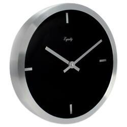 10 in. Round Brushed Aluminum Metal Analog Wall Clock Modern Decor Quartz NEW