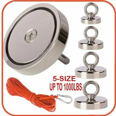 400-1000lb Fishing Magnet Kit Strong Neodymium Pull Force With Rope Carabiner