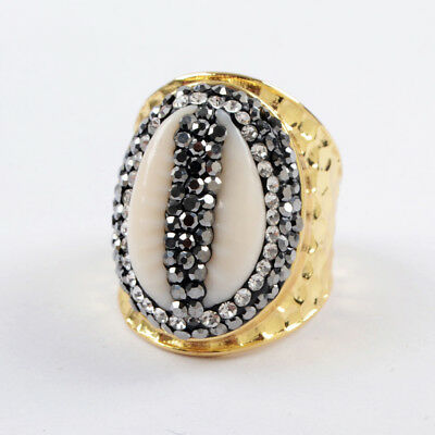 (1Pcs Women Gold Plated Brass CZ Paved Natural Cowrie Shell Open Cuff Ring HJA936)