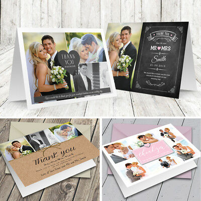 Personalised Wedding Thank You Cards Folded with Photo + Colour Envelopes