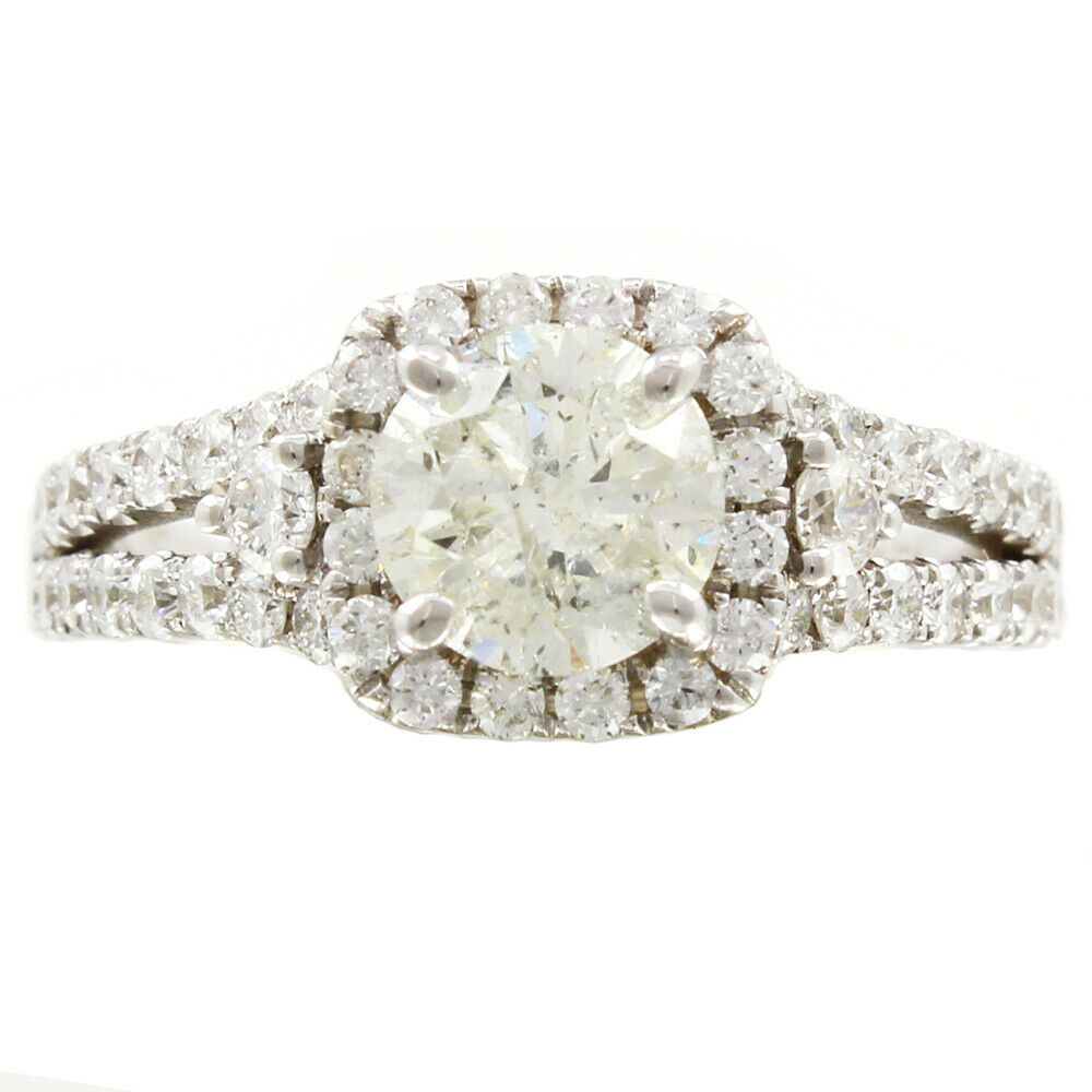 GIA Certified Round Cut Halo Diamond Engagement Ring 14k White Gold 1.82 ct