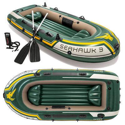 INTEX Seahawk 3 Set Schlauchboot + Paddel + Pumpe Angelboot Ruderboot 3 Personen