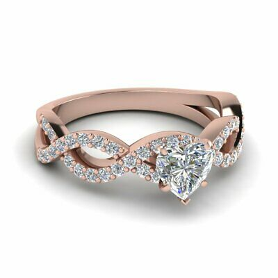 1 Carat Heart Shaped Infinity Pave Diamond Womens Engagement Ring GIA Certified