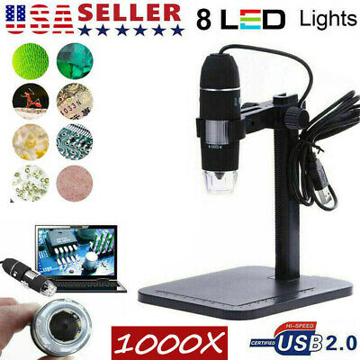 1000x Digital Microscope 8 Led Magnifier Camera Video Usb 2.0 Zoom Endoscope Us
