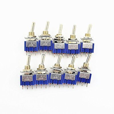10pcs 3 Pin 3 Position On-off-on Spdt Mini Latching Toggle Switch Ac 125v6a 250