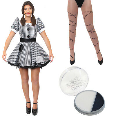 LADIES BROKEN DOLL COSTUME ADULT HALLOWEEN HORROR FANCY DRESS OUTFIT - Broken Doll Dress