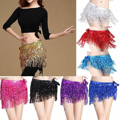 Belly Dance Dancer Costume Sequins Tassel Fringe Hip Scarf Belt Waist Wrap Skirt - Adult Belly Dancer Costume