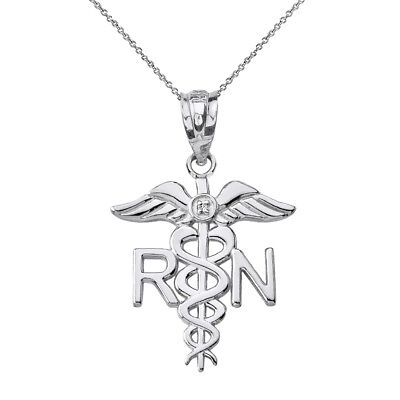 Solid 14k White Gold Diamond RN Registered Nurse Medical Wings Pendant Necklace