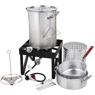 30 Qt. Deluxe Aluminum Outdoor Portable Turkey Fryer Kit Steamer Kit