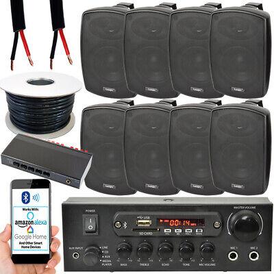 4 Zona Exterior Bluetooth Kit – 8x 60W Negro Altavoz – Amplificador...
