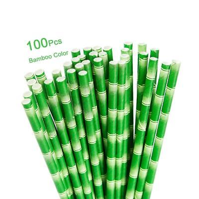 Bamboo Paper (100 Paper Straws | Green Bamboo Design | FREE: 2 x Coaster PLUS 1 x Carry)
