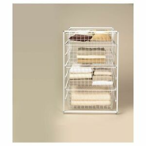 NEW CLOSETMAID 4 DRAWER WIRE BASKET SYSTEM WHITE