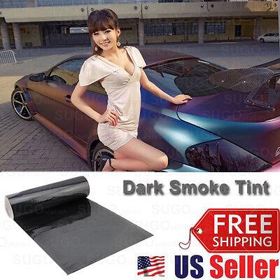 "12""x72"" Dark Smoke Tint Film Lens Vinyl Wrap Sheet Stick Decal Taillight Lamp"