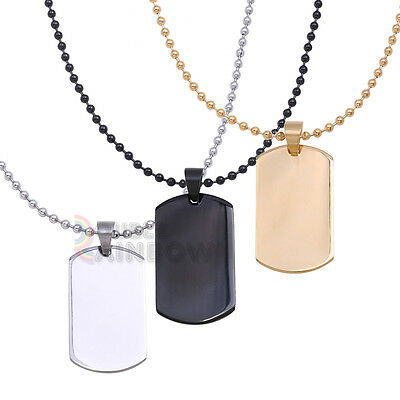 Men Blank Dog Tag with Ball Necklace Stainless Steel Black Gold Silver Chain#P48