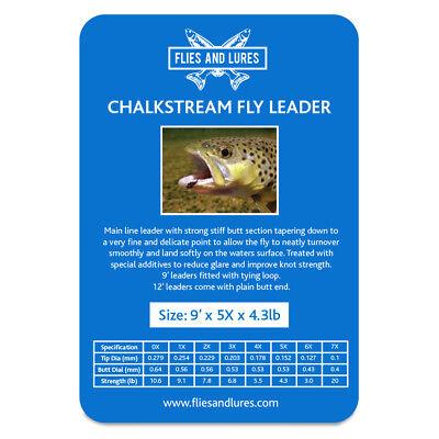 Chalkstream Fly line leader tapered knotless 0X 1X 2X 3X 4X 5X 6X 7X x 9' Looped ()