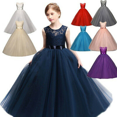 Flower Girl Dresses For Fall Wedding (Lace Flower Girl Dress Maxi Long Formal Ball Gown for Kids Wedding Bridesmaid)