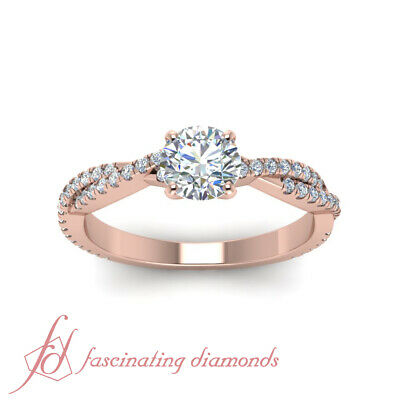 One Carat Round Cut Diamond Twisted Vine Engagement Ring For Women In Rose Gold 1