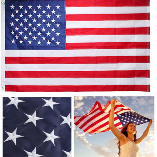 3'x5' Ft American Flag USA U.S. US Embroidered Stars Sewn Stripes Brass Grommets