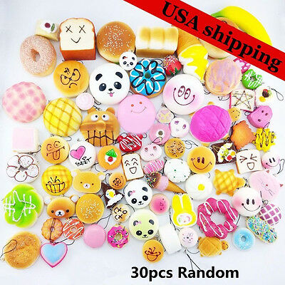 30Pcs Jumbo Medium Mini Squishy Soft Panda/Bread/Cake/Buns Phone Straps Random