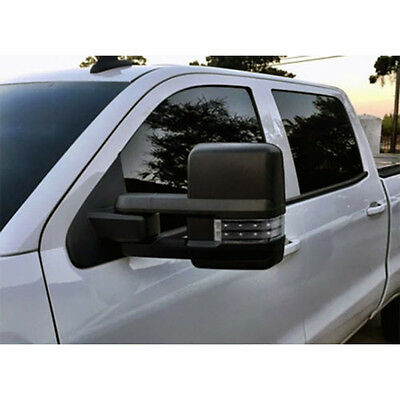 03-06 Silverado SierraPower Heated Towing Mirrors Smoke LED Signals Pair Black