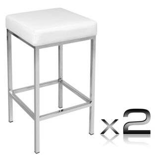 Set of 2 PU Leather Kitchen Stools - White Swansea Glamorgan Area Preview
