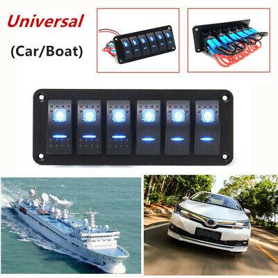 6gang Blue Led Rocker Switch Control Panel Circuit Charger Car Marine Waterproof