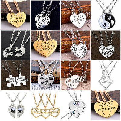 Womens Mens BFF Necklace Pizza Best Friend Necklaces Pendant Friendship Jewelry