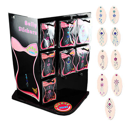 (Jeweled Belly Ring Tattoo Sticker Display with 9 Different Designs, 45 Pieces!!)