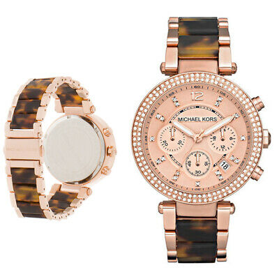 New Michael Kors MK5538 Parker 39mm Chronograph Rose Gold Acetate Women's Watch