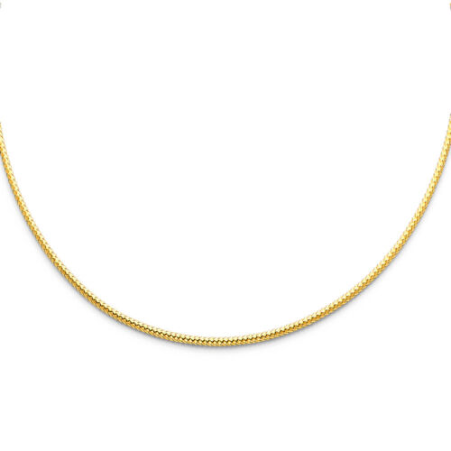 """2 mm Solid 14K Yellow Gold Sparkle Cable Wire Omega Collar Necklace 17"""" Women"""