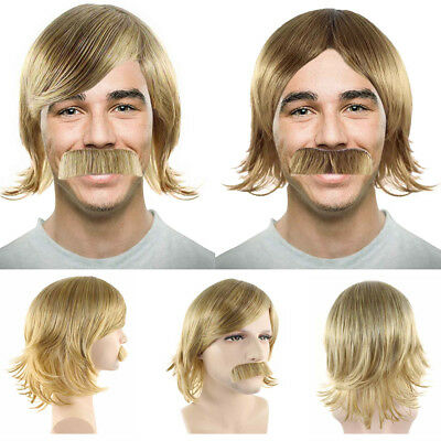 Golden Brown 70s Disco Retro Wig with Mustache Halloween Cosplay Party Costume - Halloween Costumes With Mustache