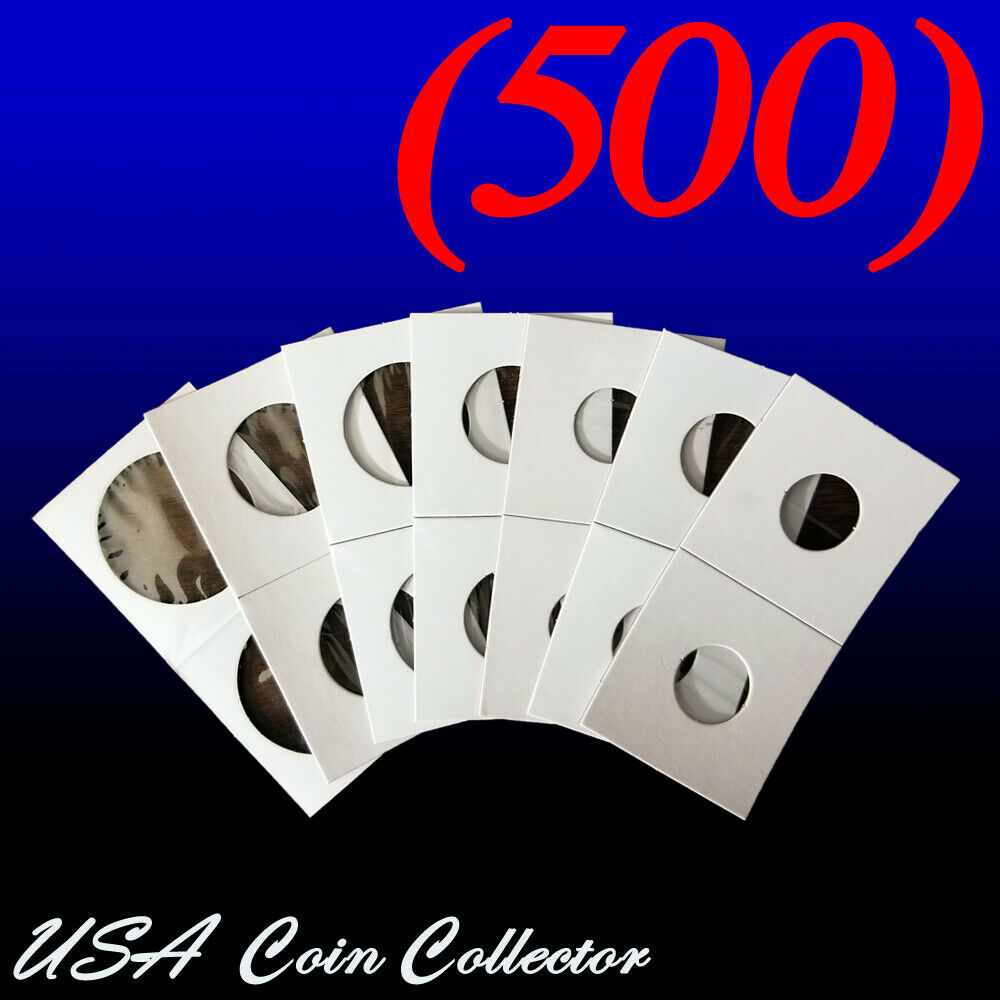 (500) Assorted Sizes 2x2 Mylar Cardboard Coin Flips for Storage | Paper Holders