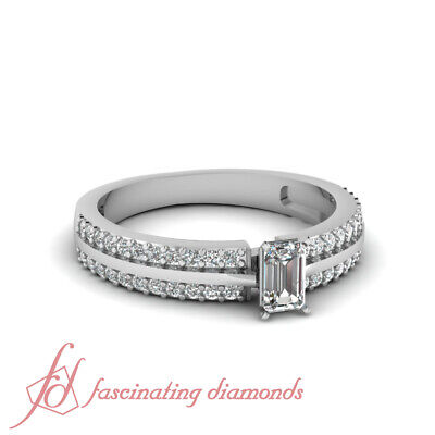 3/4 Ct Emerald Cut Natural Diamond Double Row Pave Set Engagement Ring 14K GIA