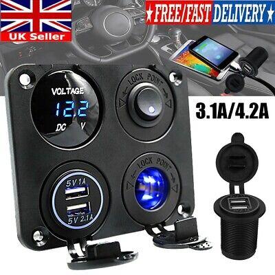 12V 3.1A USB Boat Car Switch Panel Cigarette Lighter Voltmeter Socket Charger