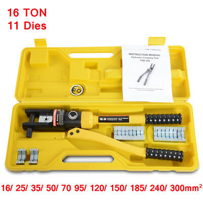16 Ton Hydraulic Wire Terminal Crimpers Crimping Tools For Cable Lug W 11 Dies
