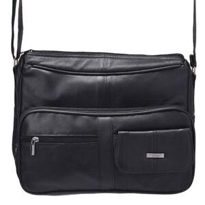 Ladies Soft Nappa Leather Organiser Cross Body-Shoulder Bag by Lorenz In Black