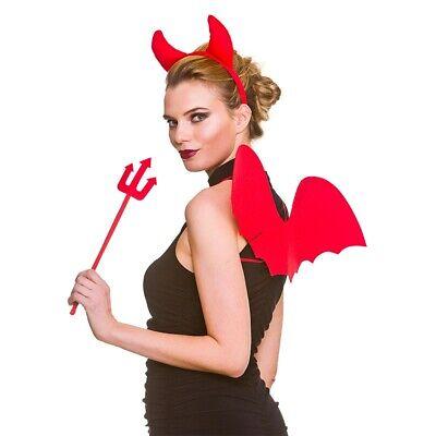 Roter Teufel Satz 3 Teile Hörner Flügel Dreizack - Rote Teufel Flügel Kostüm