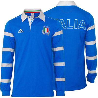 adidas Shirt Poloshirt Langarm Polo [Gr.S-XL] FIR Italien Rugby Jersey blau NEU ()