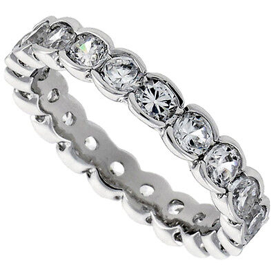 Sterling Silver Eternity Band Ring w/ 2.5mm Brilliant Cut Cubic Zirconia Stones