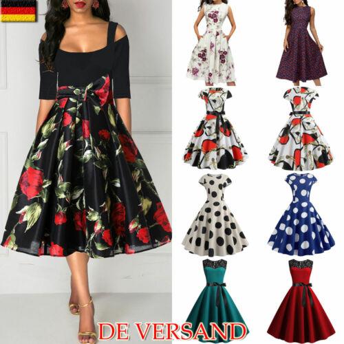 Damen Rockabilly Hepburn 50er Petticoat Jahre Vintage Freizeit Party Skaterkleid