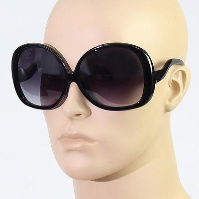 70's RETRO Vintage Style BIG WoMen OVERSIZED Black Frame Dark Lens Sunglasses - Black Women 70s