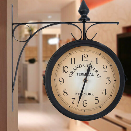 retro antique double sided wall clock hanging