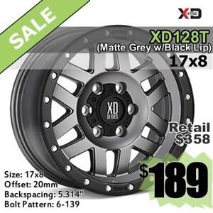 17X8 WHEELS, 6-139, KMC XD SeriesXD128T (Matte Grey w Black Lip)