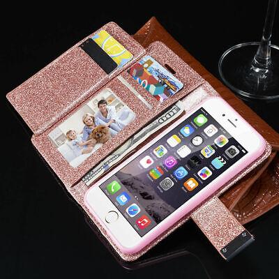 Glänzende Kunstleder (Für iPhone Samsung S10 S8 S9 Handyhülle Bling Glitzern Case Wallet Schutz Etui)