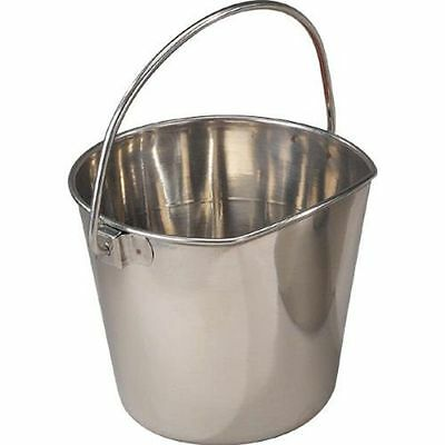 Stainless Steel Flat Sided Dog kennel Water Pail 6 Quart 6 Quart Stainless Pail